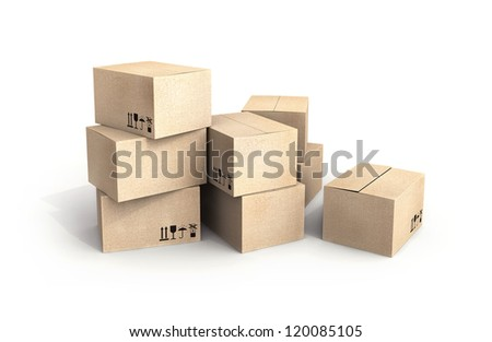 Pile of new cardboard boxes isolated on white with soft shadow - stock photo