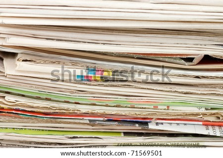 Pile of newspapers close up