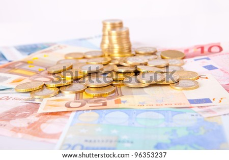 Pile of notes and coins
