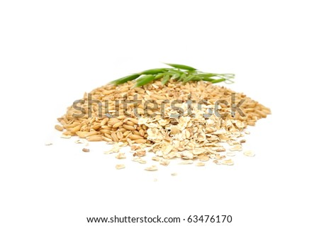 Pile of Oat Grains, Oat Flakes And Ear Isolated on White Background