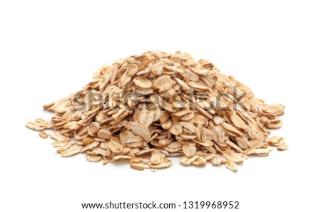 pile of oatmeal isolated on white background #1319968952