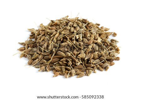Pile of of dried anise seed (aniseed) isolated on white background