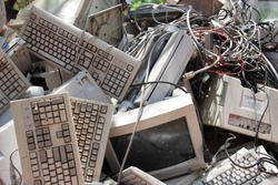 pile of old computer waste in the junkyard