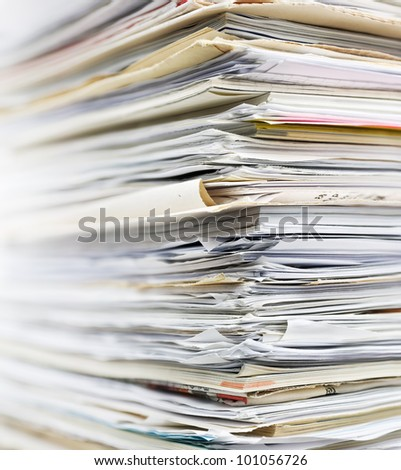 Pile of old paper for recycling. Small depth of field