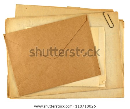 pile of old papers isolated on white