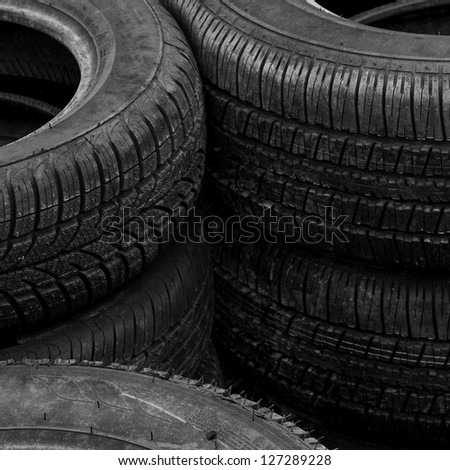 Pile of old rubber tires for background