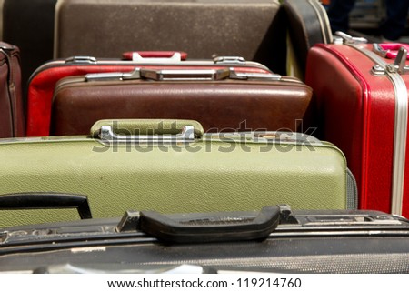 Pile of old vintage bag suitcases