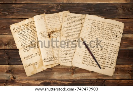 Pile of old vintage manuscripts with nib  Сток-фото ©