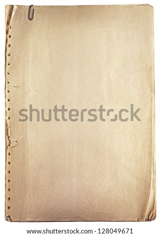 Pile of old vintage papers isolated on white