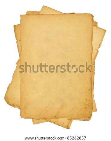 pile of old vintage papers isolated on white background