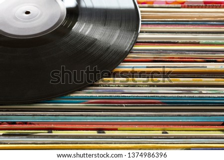 Pile of old vinyl records(analogue record) #1374986396