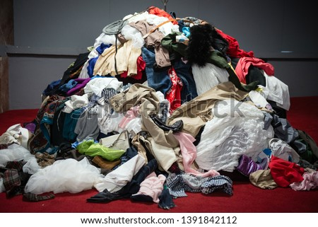 Pile of old worn clothes