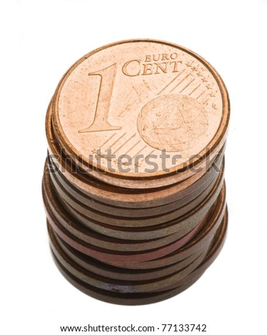 pile of one cent euro coin isolated on a white background