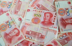 pile of one hundred china banknotes,  yuan currency. the currency which Influence on the world economy. money game powers. economy and funds concept.