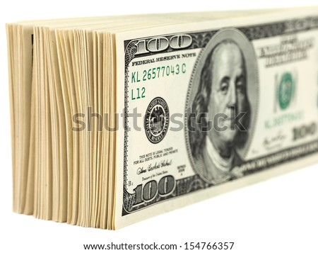 Pile of One Hundred Dollar Bills Isolated on  White Background
