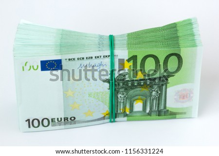 Pile of one hundred euro banknotes, studio shot