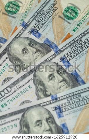 Pile of one hundred US dollar bills. United States 100 dollar bills. Money American dollar bills. United States currency.