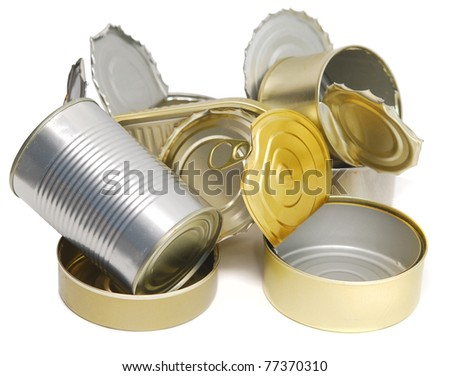 pile of open tin cans isolated on white