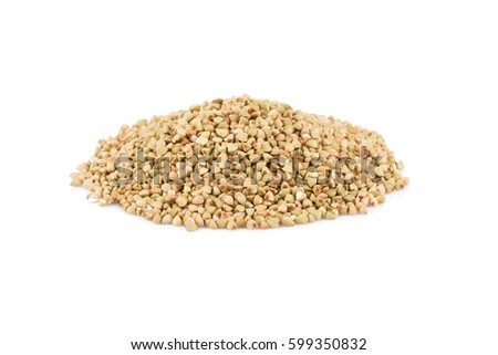 Pile of organic bio buckwheat raw on white background #599350832