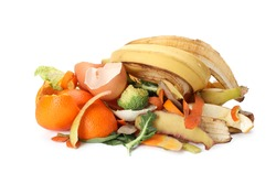 Pile of organic waste for composting on white background