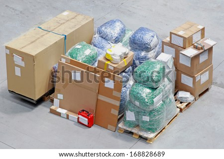 Pile of packed boxes with equipment and ready for shipping