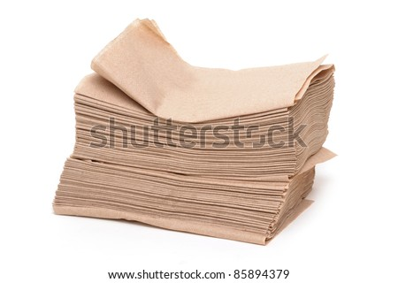 pile of paper napkins white background