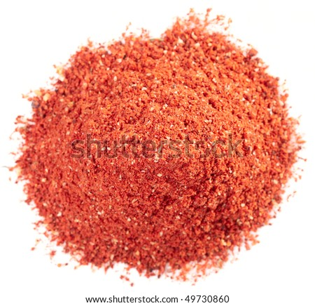 Pile of paprika powder, macro shot, isolated on white