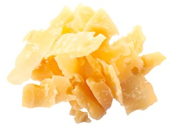 Pile of Parmesan flakes or shavings, isolated