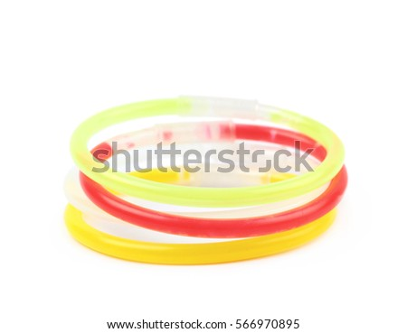 Pile of party glow sticks isolated over the white background #566970895
