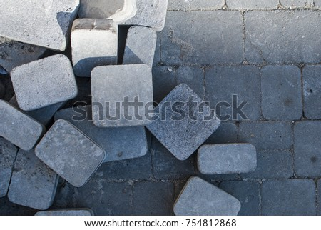 Pile of paving stones during road construction  #754812868