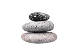 Pile of pebble stone on white background isolated closeup, stack of balanced zen stones, smooth sea pebbles pyramid, round cobblestones tower, yoga rocks heap, stacked balance cobble stone arrangement