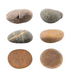 Pile of pebbles isolated on white background.