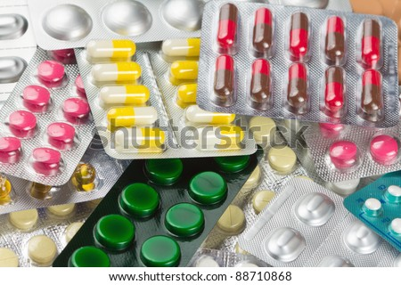 Pile of pills in blister packs