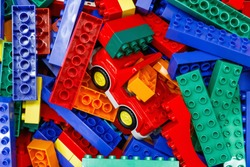 Pile of plastic lego toy bricks on display at the shop in London