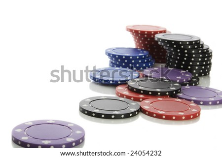 Pile of poker chips isolated on white