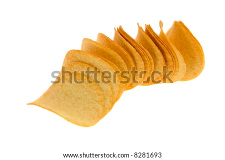Pile of potato chips, isolated on white.