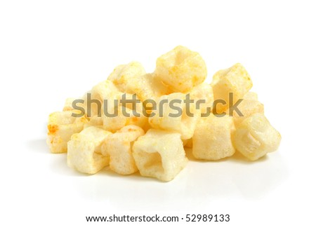 Pile of potato chips on a white background