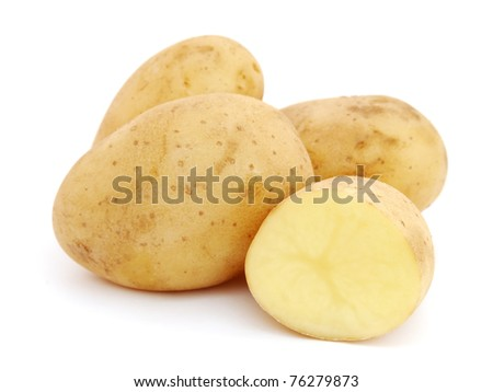 Pile of potatoes isolated on white background - stock photo