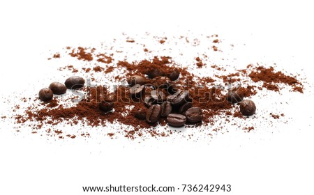 Pile of powdered, instant coffee and beans isolated on white background #736242943