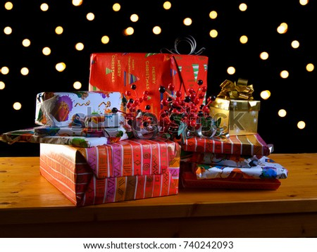 pile of presents, christmas presents #740242093