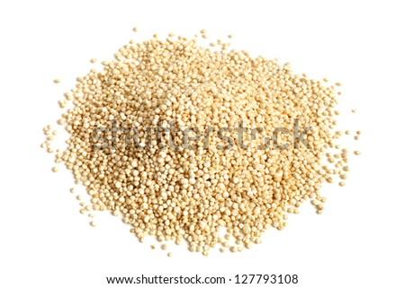 Pile of quinoa grain on a white background
