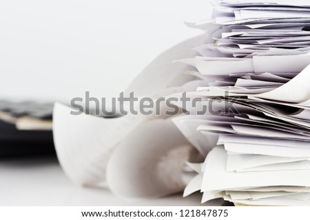 Pile of receipts on the desk