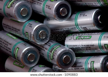 pile of rechargeable batteries stock photo 1090883 shutterstock. Black Bedroom Furniture Sets. Home Design Ideas