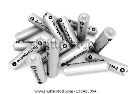 Pile of rechargeable batteries on a white background