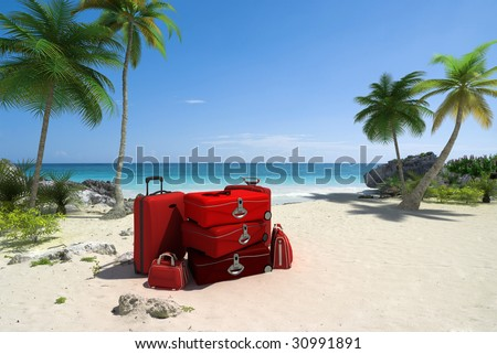 Pile of red luggage on a tropical beach