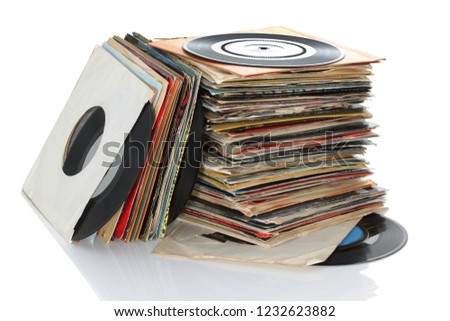 Pile of retro vinyl 45rpm singles records #1232623882
