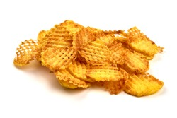 Pile of ridged potato chips or crisps, isolated on white background. High resolution image.