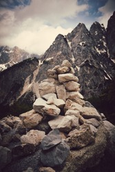 Pile of rocks stone in mountains. Zen concept