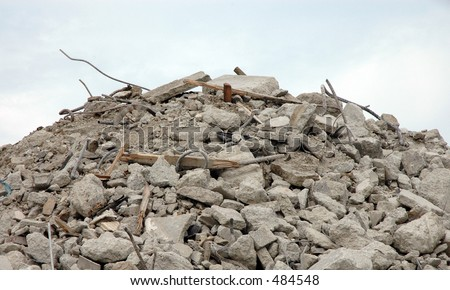 Pile of rubble from demolished building