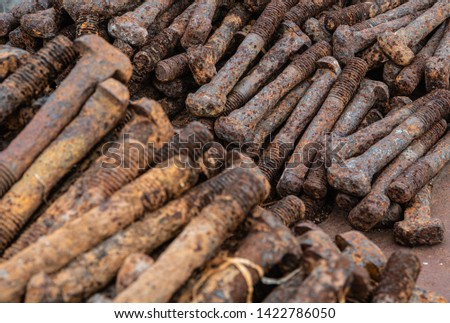 Pile of rusty vintage rusty bolts  #1422786050